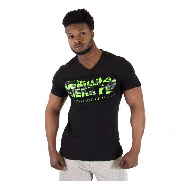 Футболка Sacramento V-Neck T-Shirt Black/Lime Neon