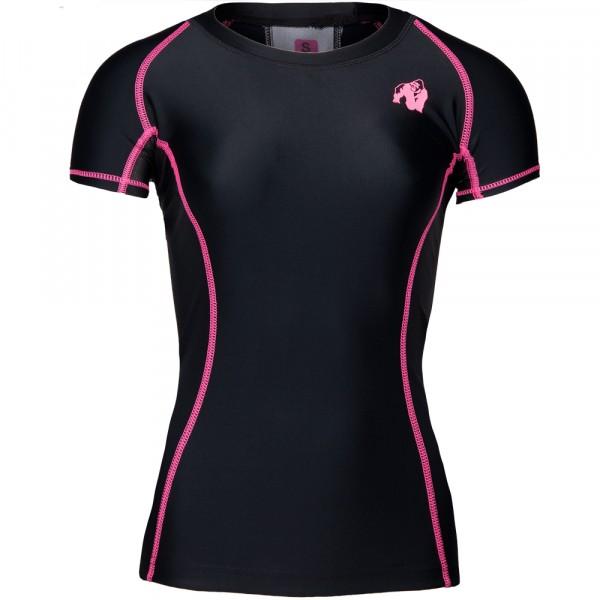 Carlin Compression Short Sleeve Top Black/Pink